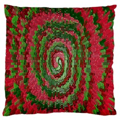 Red Green Swirl Twirl Colorful Large Flano Cushion Case (one Side)
