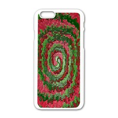 Red Green Swirl Twirl Colorful Apple iPhone 6/6S White Enamel Case