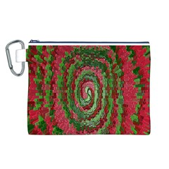 Red Green Swirl Twirl Colorful Canvas Cosmetic Bag (l)
