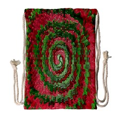 Red Green Swirl Twirl Colorful Drawstring Bag (Large)