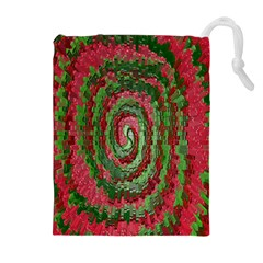 Red Green Swirl Twirl Colorful Drawstring Pouches (Extra Large)