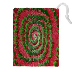 Red Green Swirl Twirl Colorful Drawstring Pouches (XXL)