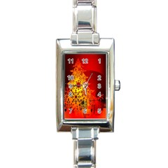 Red Silhouette Star Rectangle Italian Charm Watch
