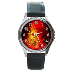 Red Silhouette Star Round Metal Watch