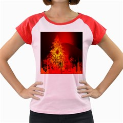 Red Silhouette Star Women s Cap Sleeve T-Shirt