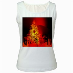 Red Silhouette Star Women s White Tank Top