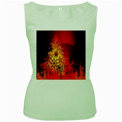 Red Silhouette Star Women s Green Tank Top