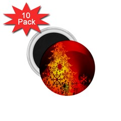 Red Silhouette Star 1 75  Magnets (10 Pack)