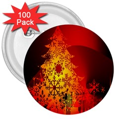 Red Silhouette Star 3  Buttons (100 pack)