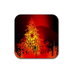 Red Silhouette Star Rubber Square Coaster (4 Pack)