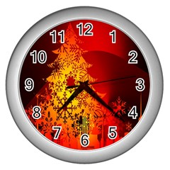 Red Silhouette Star Wall Clocks (silver)