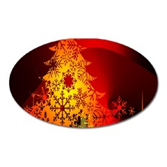 Red Silhouette Star Oval Magnet