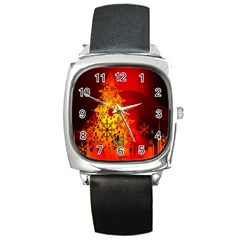 Red Silhouette Star Square Metal Watch