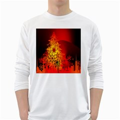 Red Silhouette Star White Long Sleeve T-Shirts
