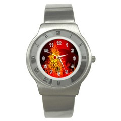 Red Silhouette Star Stainless Steel Watch