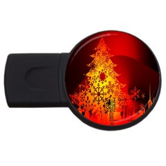 Red Silhouette Star Usb Flash Drive Round (4 Gb)