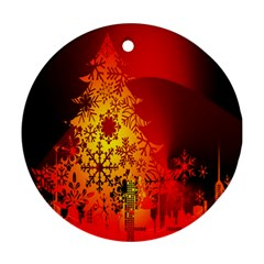 Red Silhouette Star Round Ornament (Two Sides)