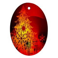 Red Silhouette Star Oval Ornament (Two Sides)