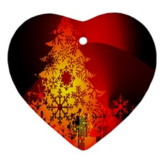Red Silhouette Star Heart Ornament (two Sides)