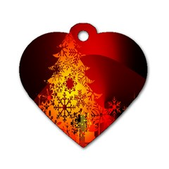 Red Silhouette Star Dog Tag Heart (Two Sides)