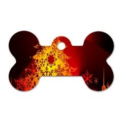 Red Silhouette Star Dog Tag Bone (Two Sides)