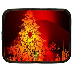 Red Silhouette Star Netbook Case (Large)