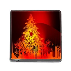 Red Silhouette Star Memory Card Reader (square)