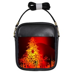 Red Silhouette Star Girls Sling Bags