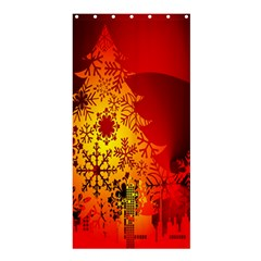 Red Silhouette Star Shower Curtain 36  X 72  (stall)