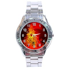 Red Silhouette Star Stainless Steel Analogue Watch