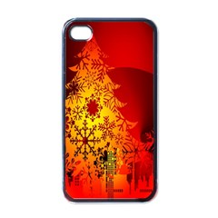 Red Silhouette Star Apple iPhone 4 Case (Black)