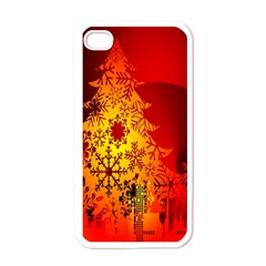 Red Silhouette Star Apple Iphone 4 Case (white)