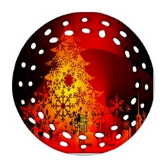 Red Silhouette Star Ornament (round Filigree)