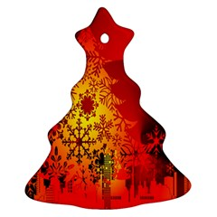 Red Silhouette Star Ornament (Christmas Tree)