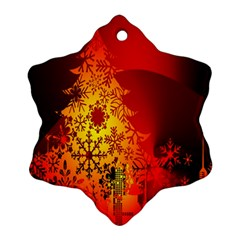 Red Silhouette Star Snowflake Ornament (Two Sides)