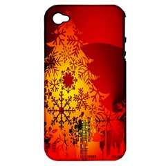 Red Silhouette Star Apple Iphone 4/4s Hardshell Case (pc+silicone)