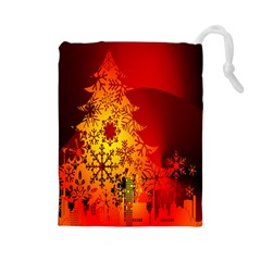 Red Silhouette Star Drawstring Pouches (large)