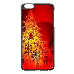 Red Silhouette Star Apple Iphone 6 Plus/6s Plus Black Enamel Case