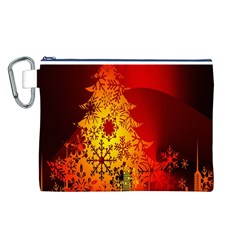 Red Silhouette Star Canvas Cosmetic Bag (l)