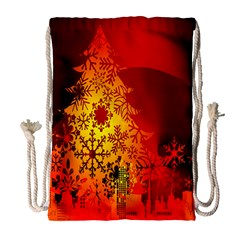 Red Silhouette Star Drawstring Bag (Large)