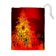 Red Silhouette Star Drawstring Pouches (Extra Large)