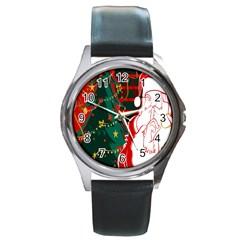 Santa Clause Xmas Round Metal Watch