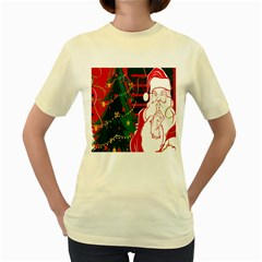 Santa Clause Xmas Women s Yellow T Shirt