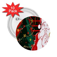 Santa Clause Xmas 2 25  Buttons (10 Pack)