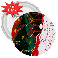 Santa Clause Xmas 3  Buttons (10 pack)