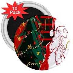 Santa Clause Xmas 3  Magnets (10 Pack)
