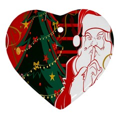 Santa Clause Xmas Heart Ornament (Two Sides)