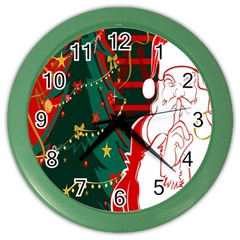 Santa Clause Xmas Color Wall Clocks