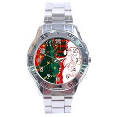 Santa Clause Xmas Stainless Steel Analogue Watch