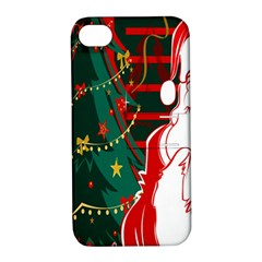 Santa Clause Xmas Apple Iphone 4/4s Hardshell Case With Stand